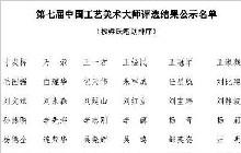 第七届中国工艺美术大师评选结果出炉!你认识几个?
